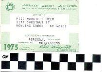 Image of American Library Association membership card
