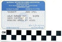 Image of National Retired Teachers Association membership card