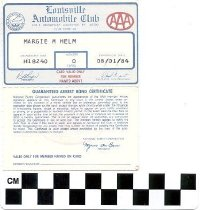 Image of Louisville Automobile Club membership card