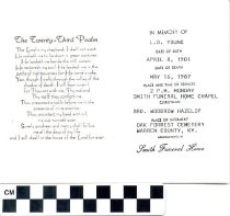 Image of Smith Funeral Home Memorial Card