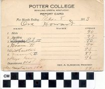 Image of potter college report card, 1913
