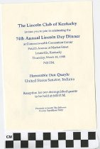 Image of 74th Annual Lincoln Day Dinner with Dan Quayle