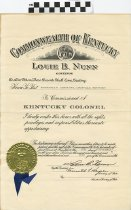 Image of Certificate of Colonelship from Louie B. Nunn