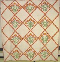 Image of 2003.14.1 - Orange Tree applique quilt