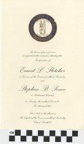 Image of Inauguration invitation of Fletcher/Pence