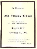 Image of JFK Mortuary Card