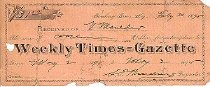 Image of Weekly Times Gazette Receipt
