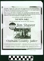 Image of No New Jail! Vote Jim Shaver Independent Candidate: Oldham County Jailer