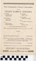 Image of Trapp Family Singers [concert program] - The Community Concert Association
