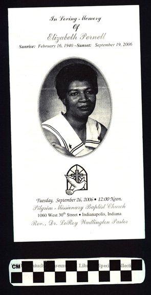 Elizabeth Pernell Funeral Program - Lavenia, Smith & Summers