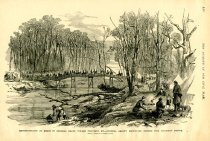 Image of Reconnoissance in Force, by General Grant, toward Columbus, Ky.-General Grant's Bodyguard Passing over mayfield Bridge. - Lovie, Henry