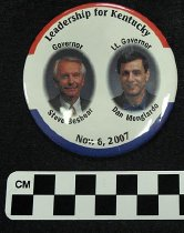 Image of Steve Beshear & Dan Mongiardo inaugural button - Button, Political