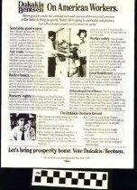 Image of Dukakis / Bentsen: On American Workers [political handbill] - Dukakis/Bentsen