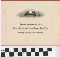 Image of Christmas Card with fireplace illustration