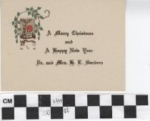 Image of Christmas Card with holly illustration