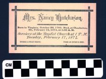 Image of Nancy Hutchason funeral invitation