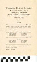 Image of Champion District Debate program, 1924