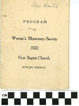 Image of Woman's Missionary Society program, 1922