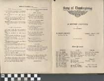 """Image of """"Song of Thanksgiving"""" program, front"""