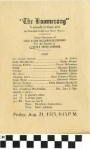 Image of The Boomerang play program, 1925