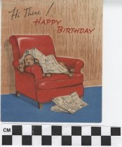 Image of birthday card with dog in chair front