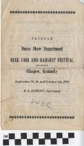 Image of Free Fair and Harvest Festival, Horse Show Department, Glasgow, Ky. [program] -