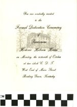 Image of Dedication Ceremony of Riverview Historic Hobson House invitation