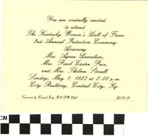 Image of Kentucky Women's Hall of Fame Induction Ceremony Invitation, 1983