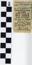 Image of hat check ticket stub