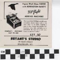 Image of Advertisement for Bryant's Studio