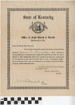 Image of Kentucky State Board of Health Membership Certificate