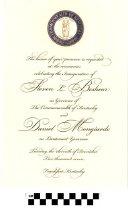 Image of Invitation to inauguration of Steve beshear and Dan Mongiardo