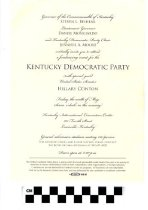 Image of Invitation to Kentucky democrat party special guest Hillary Clinton
