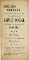 Image of Veteran Re-Elect Emmet O'Neal to Congress.