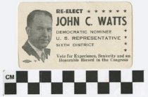 Image of Re-Elect John C. Watts, Democratic Nominee U.S. Representative 6th District