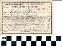 Image of Operator's License of Robert Y. Price