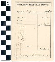 Image of Warren Deposit bank deposit slip
