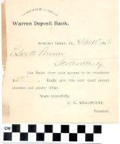 Image of Warren Deposit Bank overdrawn notice