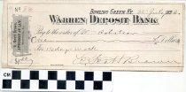 Image of warren deposit bank check, 1898