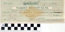 Image of Warren Deposit Bank check