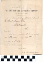 Image of The Mutual Life Insurance Company receipt 1892
