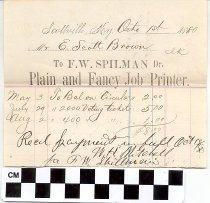 Image of invoice to f. w. spilman, plain and fancy job printer