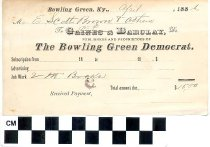 Image of Invoice from The Bowling Green Democrat