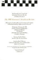 Image of Invitation to the 1997 Governor's Awards in the Arts