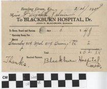 Image of Receipt Blackburn Hospital
