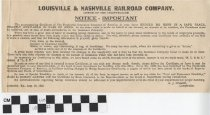 Image of Louisville and Nashville Railroad Company Announcement