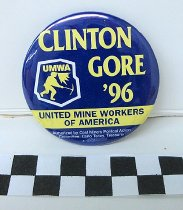 Image of Bill Clinton and Al Gore political button - Button, Political