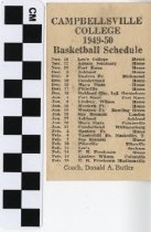 Image of Campbellsville College 1949-1950 basketball schedule -