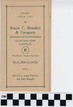 Image of Jennie C. Benedict & Company Caterers and Confectioners menu and revised price list. -