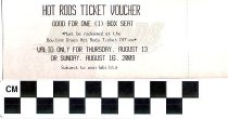 Image of Hot Rods Ticket Voucher